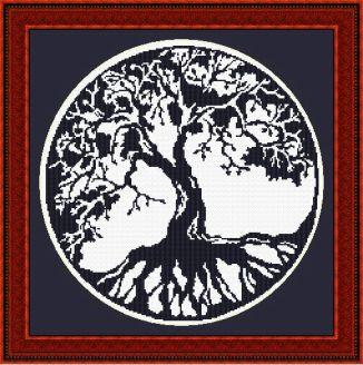 blackwork tree of life framed