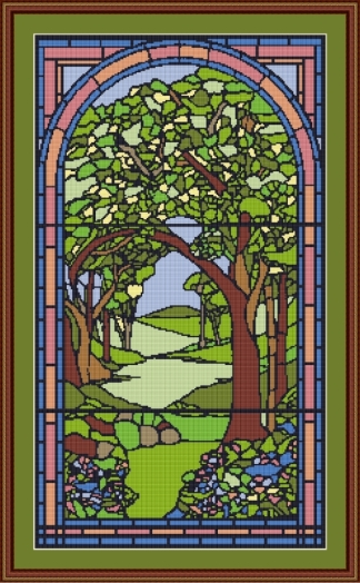 tree stained glass framed